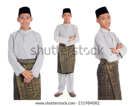 Portrait of young muslim with malaysia traditional baju melayu isolated on white