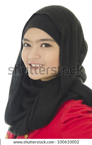 Portrait of young muslim woman over on white background. - stock photo