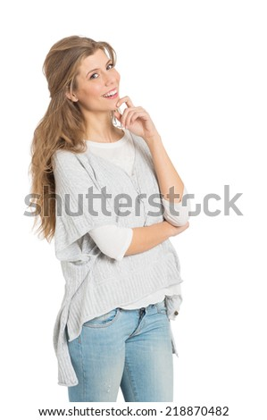 Portrait Of Young Pensive Woman In Casual Isolated On White Background - stock photo