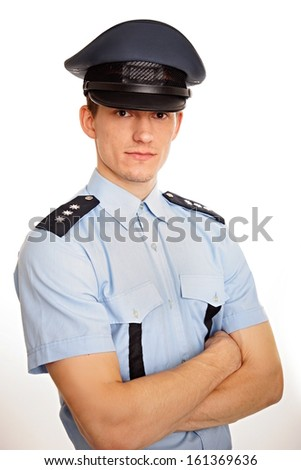 Portrait of young policeman - stock photo