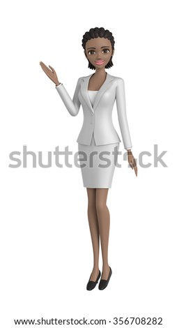 Portrait of young pretty african american businesswoman in office. - stock photo