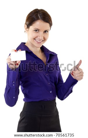 Portrait of young pretty woman holding blank business card giving thumbs up isolated on white background
