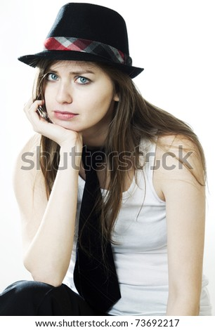 Portrait of young sad girl - stock photo
