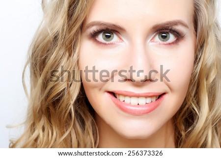 Portrait of young sensual blond woman. Studio shot. - stock photo