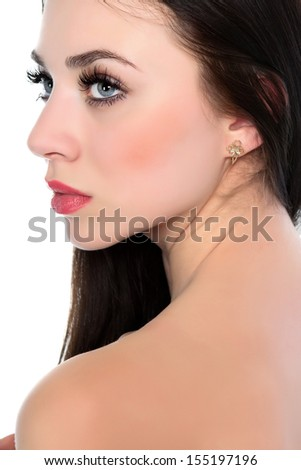Portrait of young sexy brunette. Isolated on white - stock photo