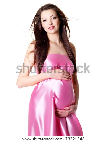 Portrait of young sexy glamour beautiful pregnant woman - white background - stock photo