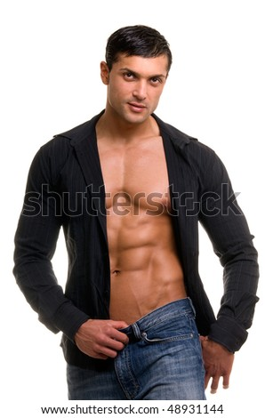 Portrait of young sexy man isolated on white. - stock photo