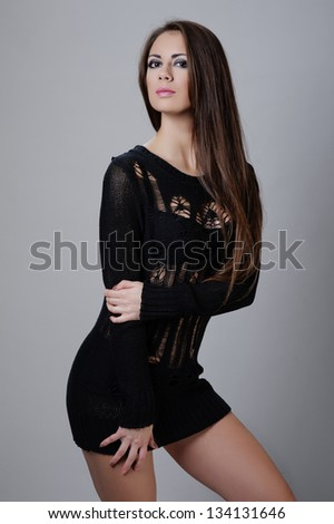 Portrait of young sexy woman on white background. - stock photo
