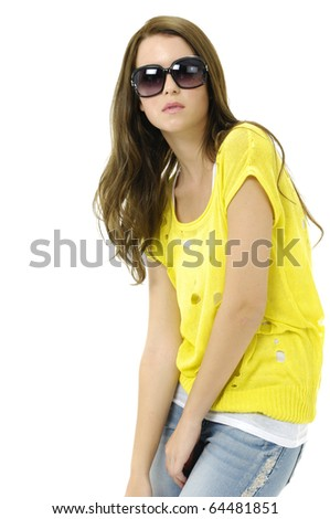 Portrait of young sexy woman with sung-lass posing on white - stock photo