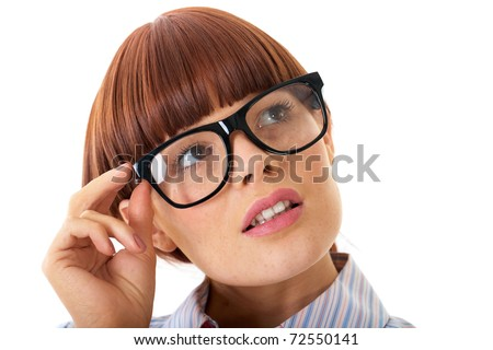 portrait of young smart redhead businesswoman in glasses, isolated on white background