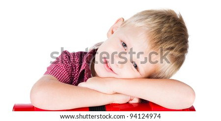 portrait of young smiling boy isolated on white background - stock photo