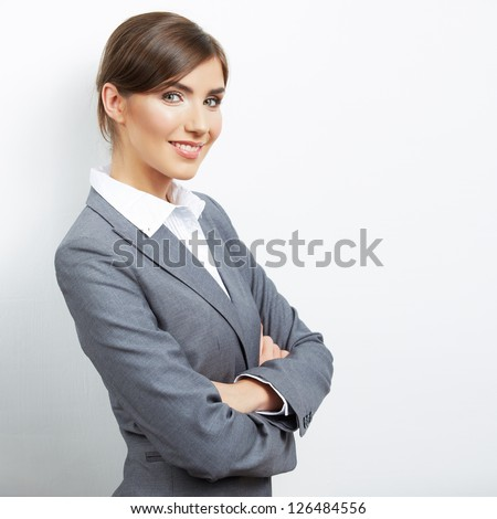 Portrait of young  smiling  business woman, isolated on white background - stock photo