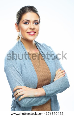 Portrait of young smiling business woman on white background isolated. Blue shirt. - stock photo