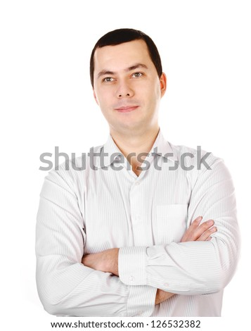 Portrait of young smiling businessman isolated on a white