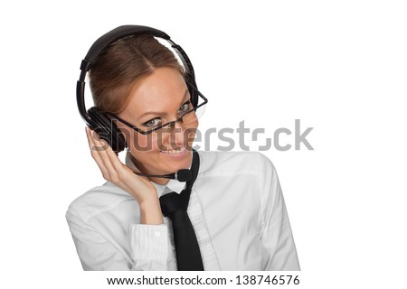 Portrait of young smiling businesswoman with headset