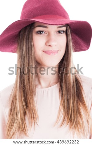 Portrait of young smiling charming woman in trendy outfit looking relaxed and happy isolated on white background - stock photo