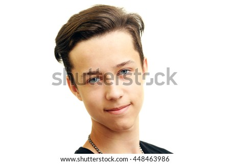 Portrait of young smiling man, isolated on white - stock photo