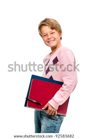 Portrait of young smiling student holding notebooks isolated on white background