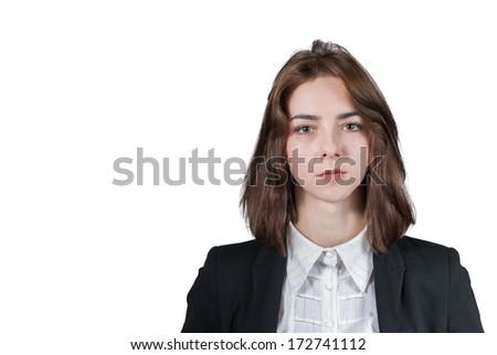 Portrait of young smilling  businesswoman isolated on white - stock photo