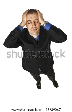 portrait of young stressed  businessman isolated on white - stock photo
