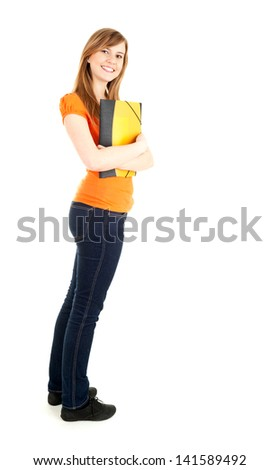 portrait of young student girl with books, full length, white background