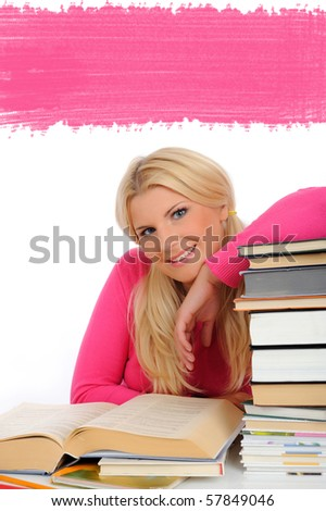 portrait of young student girl with lots of books  studing for exams - stock photo