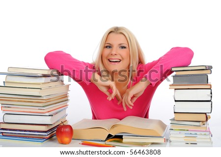 portrait of young student woman with lots of books  studing for exams. isolated on white background - stock photo