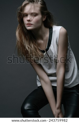 Portrait of young stylish girl. - stock photo