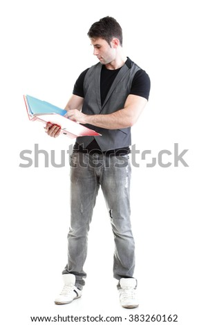 Portrait of young, successful, happy male student. Isolated on white background.