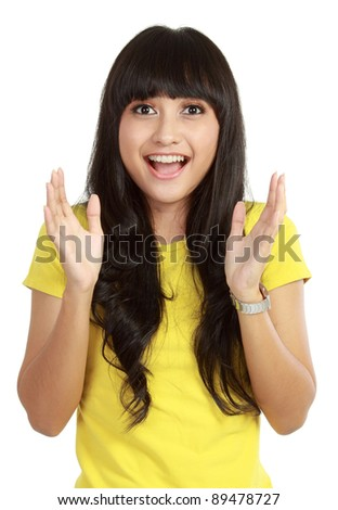 Portrait of young surprised girl isolated over white background - stock photo