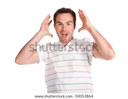 Portrait of young surprised man gesturing. Isolated on white. - stock photo