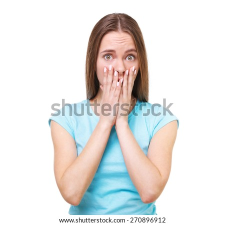 Portrait of young surprised woman isolated on white background. - stock photo