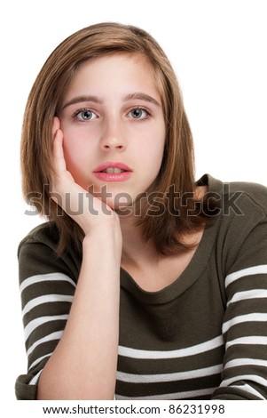 Portrait of young teen girl - stock photo