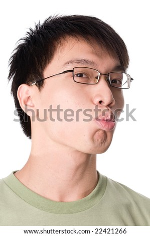 portrait of young teenager male giving kiss - stock photo