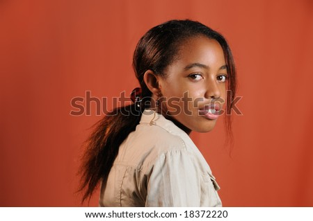 Portrait of young trendy african american girl - stock photo