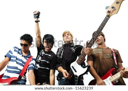 Portrait of young trendy musicians with attitude - isolated - stock photo