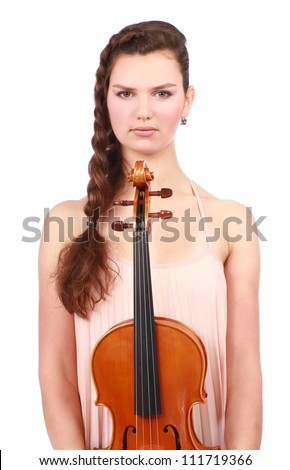 Portrait of young violinist with violin isolated on white - stock photo