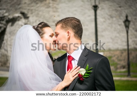 portrait of young wedding couple, beautiful bride with groom , summer nature outdoor - stock photo