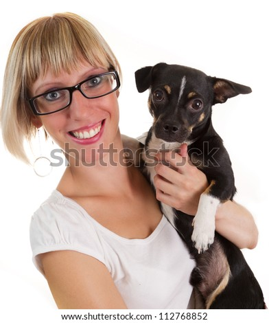 Portrait of young woman and small cute dog isolated on white - stock photo