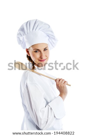 Portrait of young woman chef isolated on white - stock photo