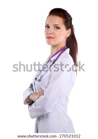 Portrait of young woman doctor with white coat standing. - stock photo
