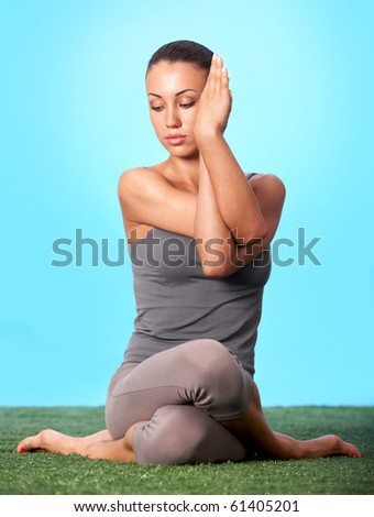 Portrait of young woman going for yoga in isolation - stock photo