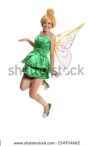 Portrait of young woman in costume and wings isolated over white background - stock photo