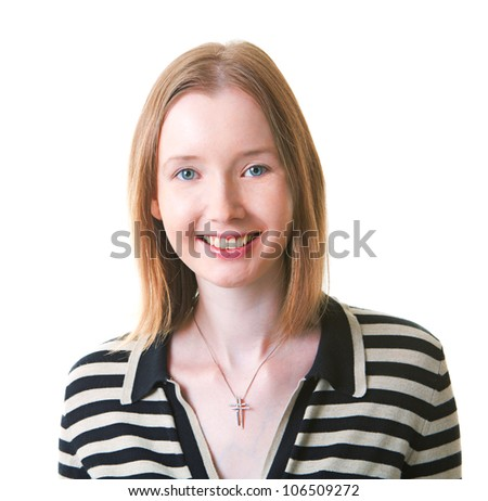Portrait of young woman in striped dress - stock photo