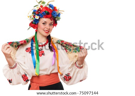 Portrait of young woman in the Ukrainian national clothes. Isolated on white - stock photo
