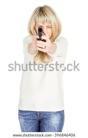 portrait of young woman pointing a Gun at the Camera with One Hand.  isolated on white background. police, crime and lifestyle concept  - stock photo