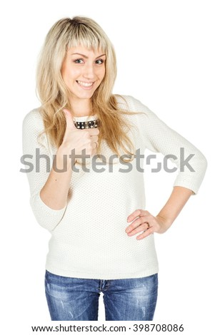Portrait of young woman showing thumb up hand sign gesture. human emotion expression and lifestyle concept. image on a white studio background.  - stock photo