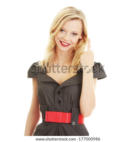 Portrait of young woman (student or businesswoman) middle finger up isolated on white background - stock photo