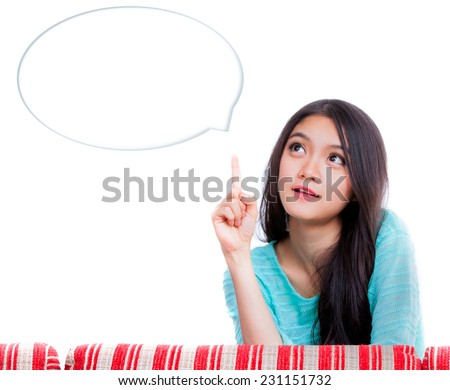 Portrait of  Young Woman think and idea - stock photo