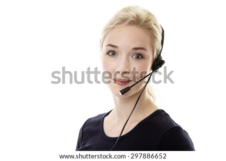 portrait of young woman wearing a headset ready to take your call - stock photo